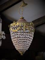 Vintage French Basket Chandelier in Acorn Form $1495.00
