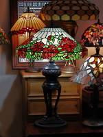 Large Lead-lite Roses Table Lamp