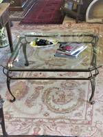 Large Square Wrought Iron & Glass Top Coffee Table $1140