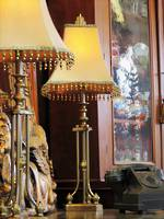 A Pair of Classic Tall Brass Table Lamps with Custom Made  Silk Shades SOLD