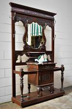 Significant Marble Topped Kauri Hall Stand - Elaborately Formed & Embellished $2950