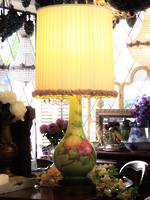 Large Hand-Painted Porcelain Table Lamp - Bespoke English Ribbon Shade