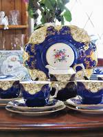 Staffordshire  Part Tea Set in Deep Blue