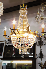 Vintage French Empire Style crystal Basket Chandelier SOLD