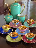 Mid-Century Bavarian Demitasse Porcelain Coffee Set - Gold Dipped