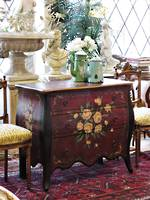 Hand-Painted French Style Bombe chest of Drawers $1250