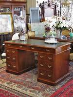 Antique English Oak Pedestal Desk with Original Leather Top SOLD