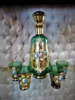 Venetian Glass Decanter Set, Hand Painted Enamel & Gold