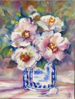 Original Oil Painting by Robyn Harrison - White Camellias Sold