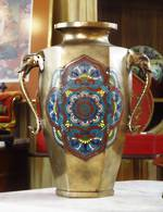 Early Champleve Cloisonne Chinese Bronze Urn with Figurative Handles