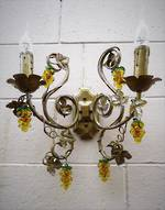 Grapevine Wall Bracket Sconce with Glass Grapes Repro $295.00