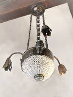 Art Deco Era Half Basket Crystal Hanging Light