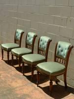 Edwardian Green Velvet Dining Chairs $1100.00 set of 4