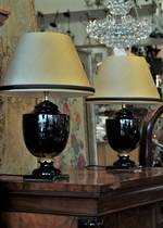 Empire Style Pair of Lamps, Gold & Black, Silk Shades
