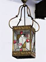 Huge Original Victorian Stained Lead-light Glass & Ormolu Lantern or Veranda Portico Light