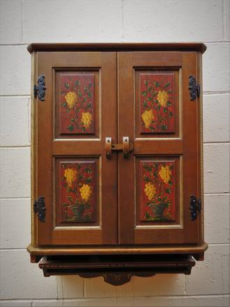 Vintage Bavarian Oak Hand Painted Kitchen or Bathroom Cabinet $750.00