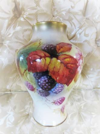 Royal Worcester Hand Painted Vase, Signed $245.00