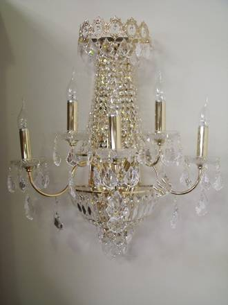 Crystal and Gold Plated Wall Sconce $1395 One only
