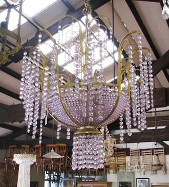 Lilac & Gold Chandelier $495