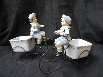Retro Enesco Figure ~  Boy on Bike porcelain Planter