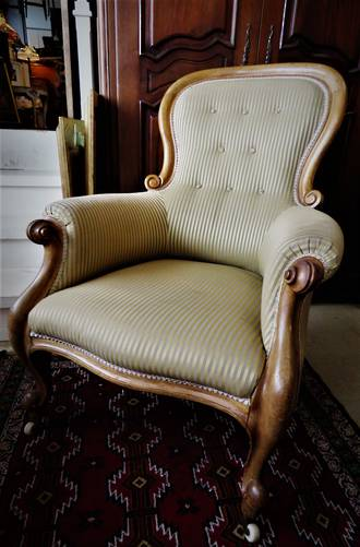 Antique English Walnut Button-Back Grandfather Armchair With Silk Brocade $1595 SOLD