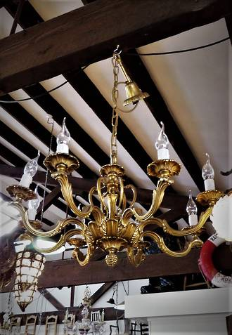 French Rococo Style Gilt 8 Armed Chandelier $2500