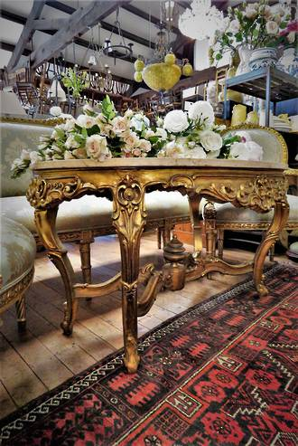 French Antique Large Marble Topped Rococo Style Center Table $2950
