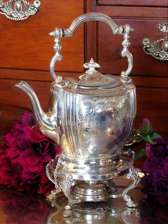 Early Engraved Silver Plate Spirit Kettle $395