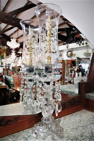 Rare Etched Glass Table Candle Chandelier Center Piece $450