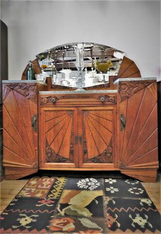 Outstanding French Art Deco Solid Carved Oak and Marble Sideboard Buffet $4500