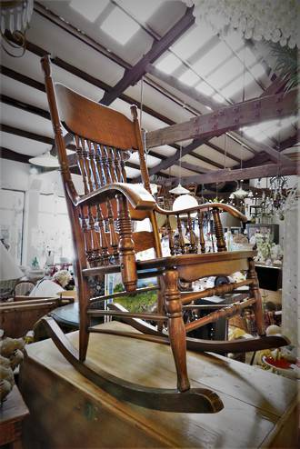 Antique Oak Spindle-Back Rocking Chair $750