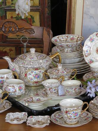 1930's Floral Tea Service & Frilly Dishes - 58 pieces