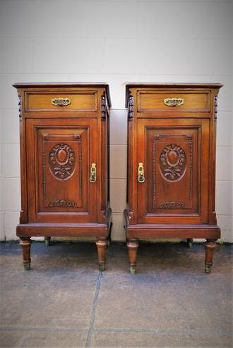 French Antique Walnut Bedsides - Tall - $1595 pair