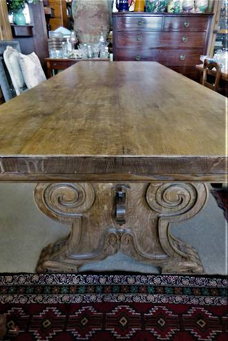 French very solid Refectory Table & 8 Chairs from Loire Valley $7995 table and chairs