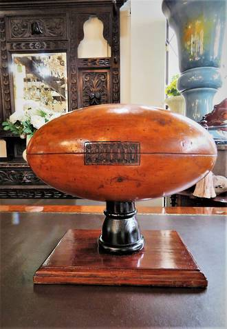 Antique Carved Kauri Trophy Rugby Ball or Football SOLD