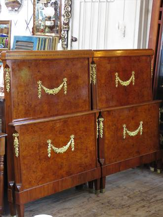 French Antique Empire Style Burr Walnut Beds $3500 pr