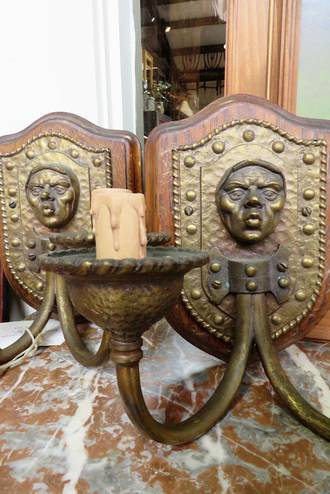 Jacobean Figurative Cast Brass Wall Brackets $1500pr