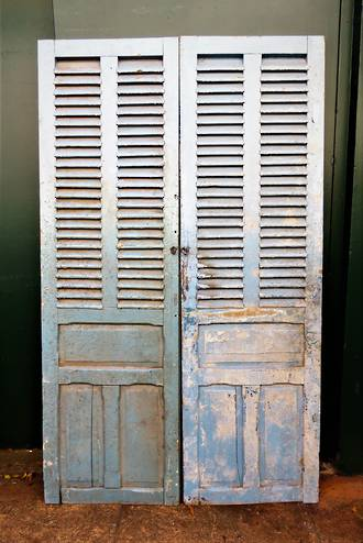 Large Light Blue French Antique Shutters - Doors $950
