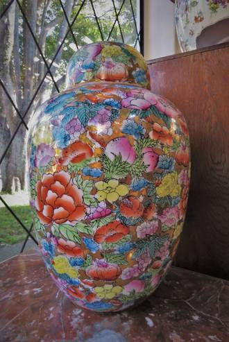 Hand-Painted Chinese Porcelain Ginger Jar with Gilt Highlights