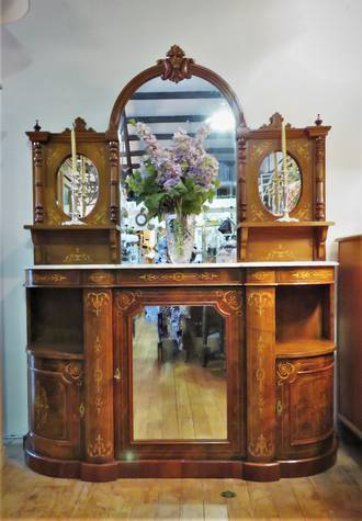 Antique Continental Credenza with Inlaid Veneer & Marble Top $4500