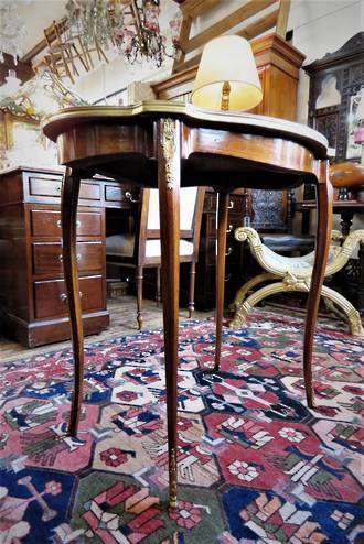 French Antique Serpentine Inlaid Side Table SOLD