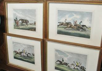 Set of 4 Antique Lithographs, Oak Frames, Racing, Hovitt