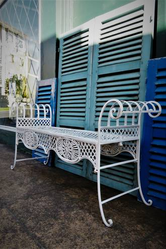 Wrought Iron French Painted Garden Bench $950
