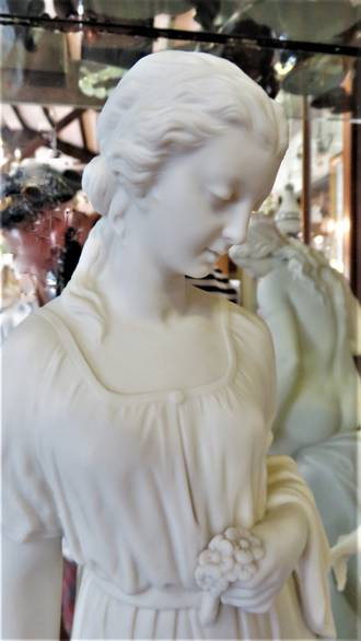 "Parian Art Nouveau Copeland Porcelain Statue  ""Flower Girl' A Chesneau SOLD"