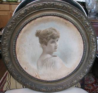 Unusual Antique 19th Century Lithograph Portrait With Pressed Brass Surround $250