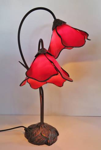 Poppy Flower lead light Lamp, Tiffany Style Pink Only Left
