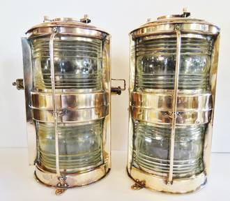 Antique Brass and Copper Japanese Ship Lamps $1850 pair