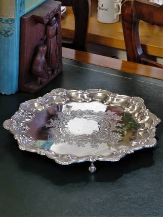 Rococo Style Silver Plated Copper Footed Tray $225