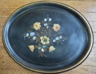 Huge Victorian Papier Mache Tray, hand painted with inlaid Abalone or Paua Shell