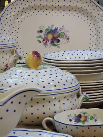 Country Kitsch Spode Polka Dot Dinner Service -  54 pieces -$995